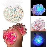 Rameng Balle Anti Stress Raisin Multicolore Lumineux LED Squishy Jouets Anxiété Relief Stress (A)