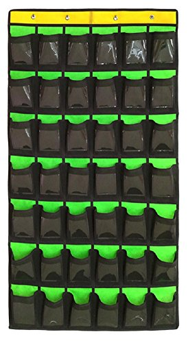 NIMES Hanging Organizer Classroom Pocket Chart for Cell Phones Calculator Holder with DIY Clear Card Pockets (42