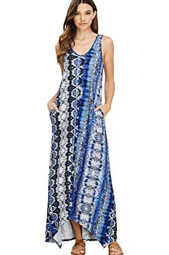 Annabelle Women's Casual Sleeveless Tank Strap Boho Chic Long Maxi Dresses with Pockets Denim Medium D5331 - Boho Long Maxi Dress