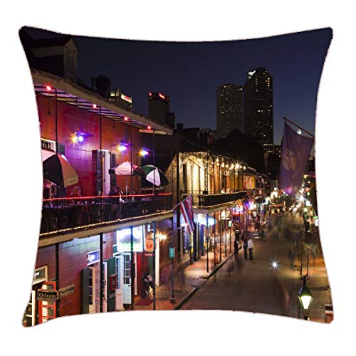 HFYZT USA, Louisiana, New Orleans. French Quarter Throw Pillow Cover 18x18 Inch Two Sides Design Printed Pillowcase -