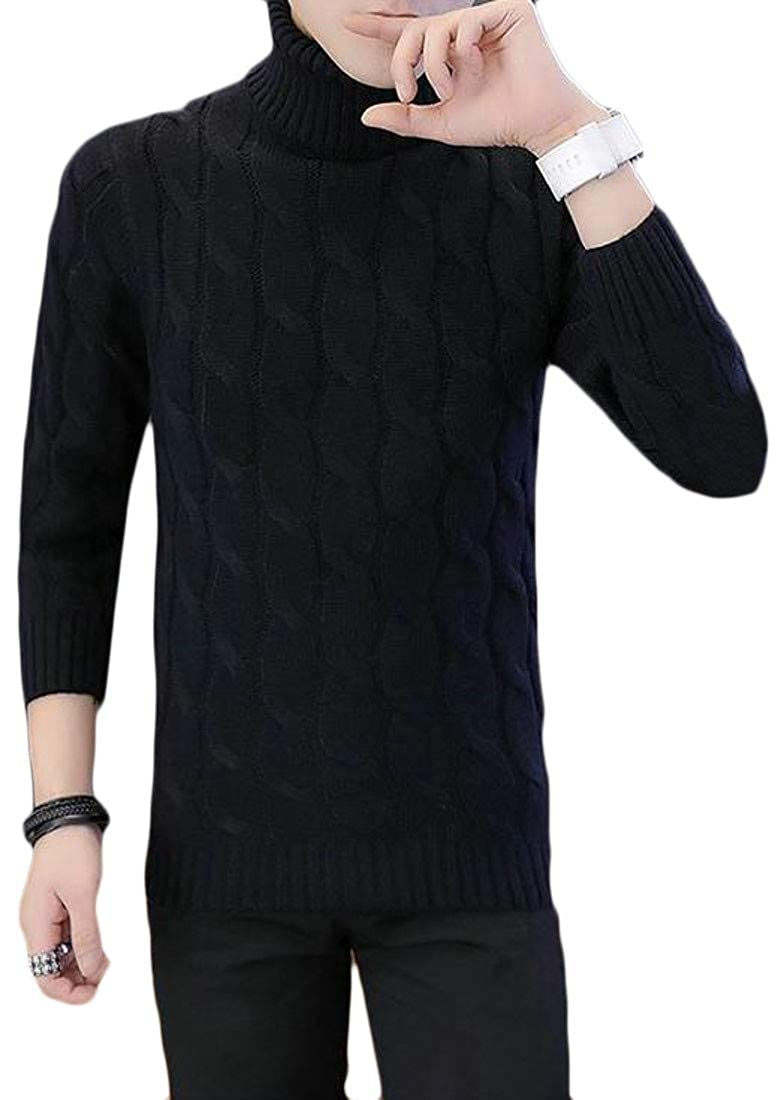 Wofupowga Men Fall Winter Turtleneck Cable Knit Casual Pullover Jumper Sweater