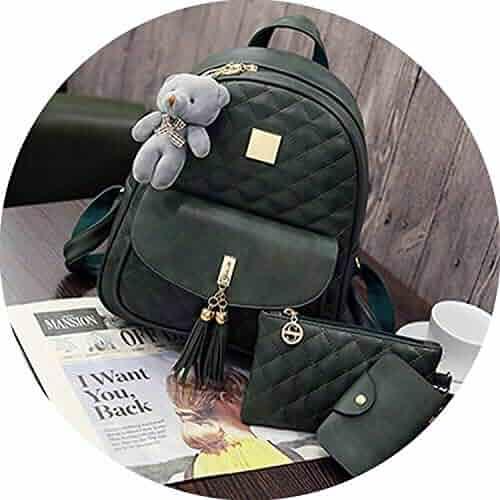 3 Pcs Bear Backpack Women Bag Diamond Lattice School Bags For Girls 2018  New Tassel Shoulder c08b5ab4f3024