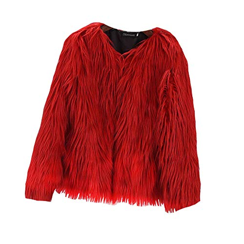 EVEDESIGN Women's Shaggy Faux Fur Coats Solid Color Long Sleeve Short Outwear Coat Jacket Red ()