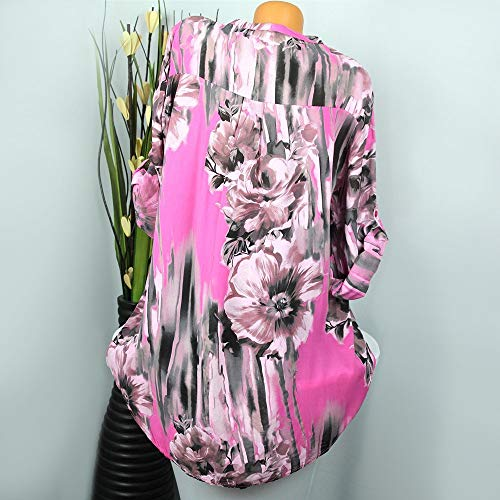 Shirt Plus Button Chemisier Longues Size Lolittas Manches Rose Tops Shirt Femmes T Imprimer V Neck RwqROYC5