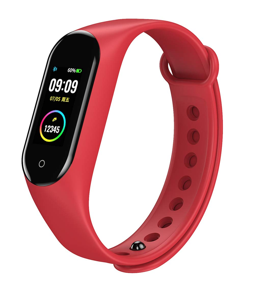 Ip67 Waterproof Smart Bracelet with Step Calorie Counter 14 Sport Mode Sleep Monitor, Pedometer for Children and Men Compatible with Android iOS Phones-red by YANGYA