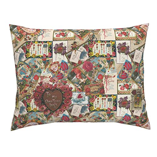 Roostery Valentine Valentines Victorian Children Ephemera Cards Love Euro Knife Edge Pillow Sham Let Me Call You, Sweetheart by Peacoquettedesigns 100% Cotton Sateen -