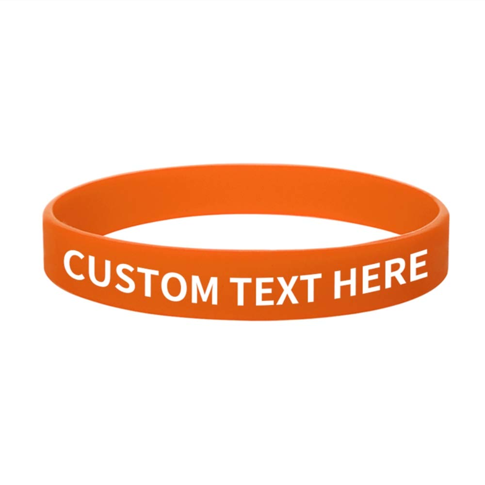 GOGO 100 PCS Customized Silicone Bracelets Rubber Band Personalized Wristbands Party Favor