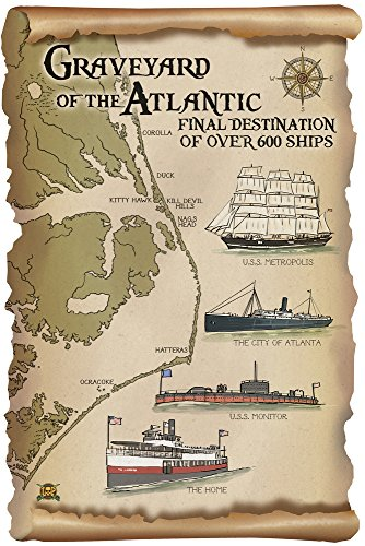 Graveyard Of The Atlantic   Shipwrecks   Outer Banks  North Carolina  9X12 Collectible Art Print  Wall Decor Travel Poster