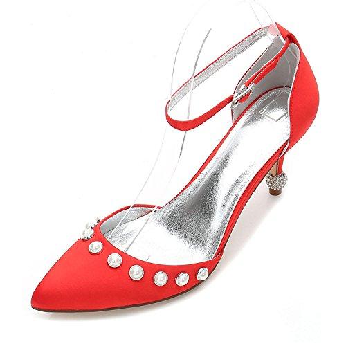 L@YC Zapatos de Mujer Básica de Boda Confort Confort Tobillo Correa de Punta Estrecha Zapatos Tacón Bajo Gatito Tacón de Aguja Red