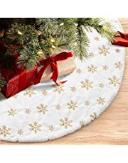 INGEQUIS Falda para Arbol de Navidad de 122cm, Piel Sintética Suave y Grueso de Lujo con Lentejuelas de Copo de Nieve Dorados, Vestido para Decorar el Árbol Navideño, Decoración Festival para Navidad