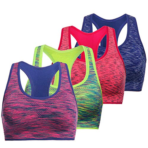 Fitness Clothes - TOBWIZU Women Racerback Sports Bras -Removable Padded Seamless Med Support for Yoga Gym Workout Fitness Activewear Bra(L)