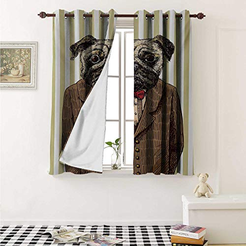 shenglv Pug Customized Curtains Hand Drawn Sketch of Smart Dressed Dog Jacket Shirt Bow Suit Striped Background Curtains for Kitchen Windows W63 x L45 Inch Brown Pale Brown -
