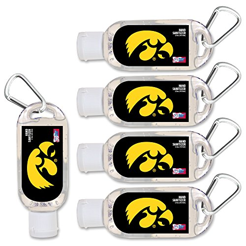 NCAA Iowa Hawkeyes Hand Sanitizer with Clip, 5-Pack. Moisturizers Aloe Vera and Vitamin E. (1.5 oz Containers) NCAA Gifts for Men and Women, Christmas Stocking Stuffers ()