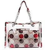 Zicac Women's Clear Transparent Beach Colorful Dot Wallet Swimming Tote Shoulder Bag (Red)