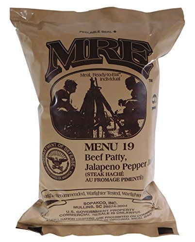 - Beef Patty, Jalapeno Pepper Jack MRE Meal - Genuine US Military Surplus Inspection Date 2020 and Up