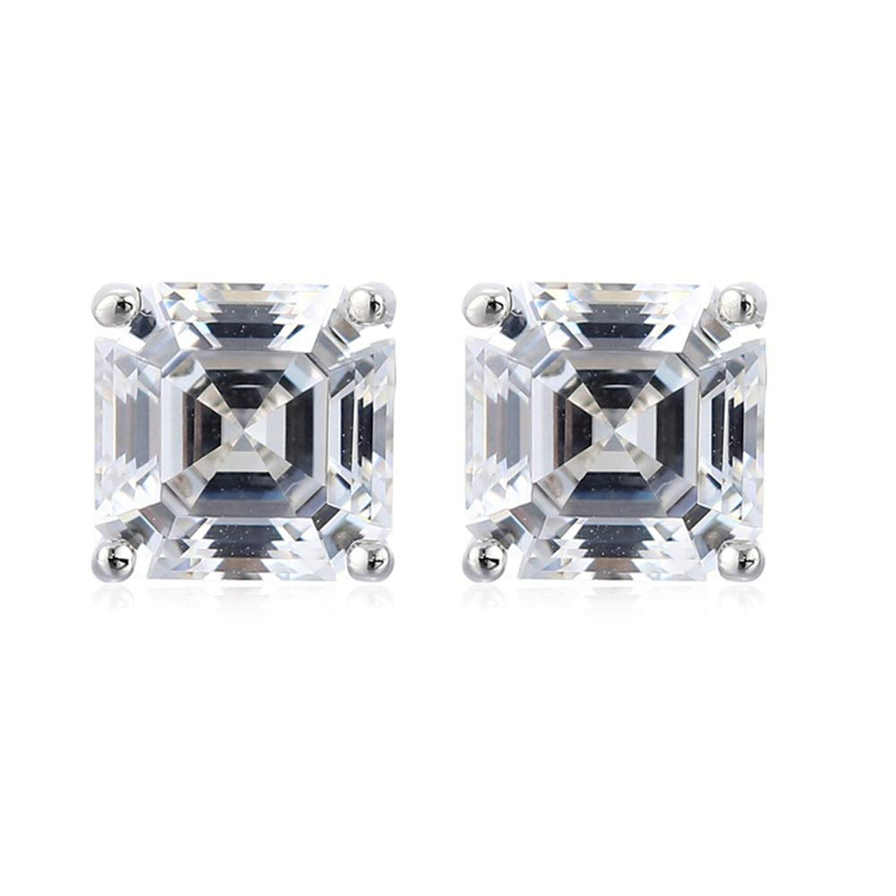Platinum Plated 925 Sterling Silver Stud Earrings set with Square Asscher Cut 6mm