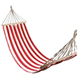 Flexzion Portable Swing Hammock Leisure Hanging Canvas Wooden Single Red and White Stripes 78.78'' x 31.5'' for Outdoor Garden Patio Camping Beach Travel Sleeping Bed
