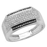 0.45 Carat (ctw) 10K White Gold White & Black Diamond Men's Hip Hop Pinky Ring 1/2 CT (Size 10.5)
