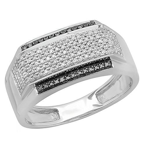 0.45 Carat (ctw) 14K White Gold White & Black Diamond Men's Hip Hop Pinky Ring 1/2 CT (Size 10) by DazzlingRock Collection