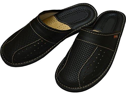 Herren Hausschuhe Leder Pantoffeln Schwarz Modell MZ02