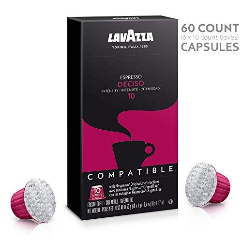 Lavazza Nespresso Compatible Capsules, Deciso Espresso Dark Roast Coffee (Pack of 60)