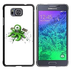 Paccase / SLIM PC / Aliminium Casa Carcasa Funda Case Cover para - Funny Alien Monster - Samsung GALAXY ALPHA G850