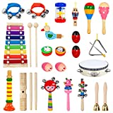 Toddler Musical Instruments, 28PCS 17 Types Wooden Percussion Instruments Toys for Baby Kids