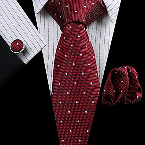 Link Dot (Men Ties Paisley Necktie Set with Pocket Suqare Hanky and Cufflinks by HAZELNUTS FOR Z (Red White Dot))