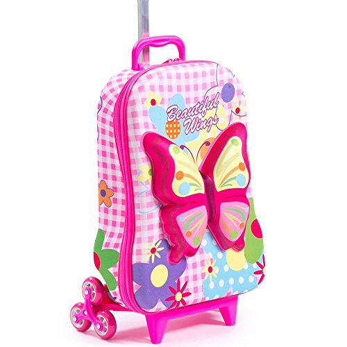 Girls Pink Green Blue 3D Butterfly Floral Theme Wheeled U...