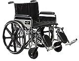 Karman KN-924W-E Heavy Duty Wheelchair with Elevating Legrest, Chrome, 24 x 18 Inch