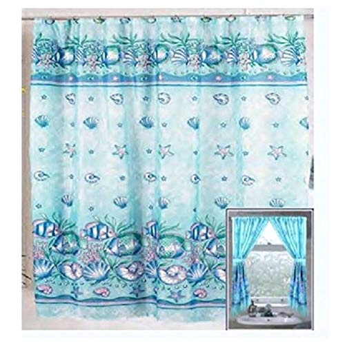 Window Windows Sea - Home Fashions Under The Sea Shower and Window Curtain Set