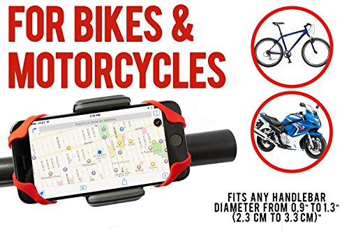 Widras Red Bike and Motorcycle Cell Phone Mount - For iPhone 6 ,5, 6s Plus, Samsung Galaxy Note or any Smartphone & GPS - Universal Mountain & Road Bicycle Handlebar Cradle Holder for Pokemon Go (Red)