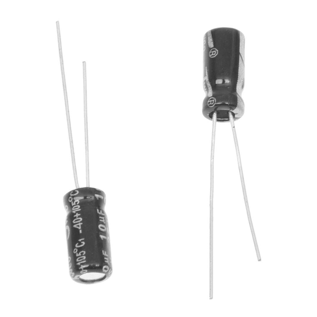 SODIAL 10uF 25V Radial Lead Aluminum Electrolytic Capacitors 100 Pcs R