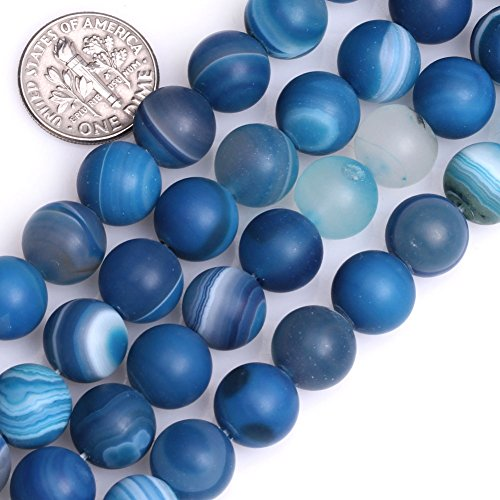 GEM-Inside Natural 10mm Frosted Matte Blue Stripe Agate Gemstone Loose Beads Round Handmade Beads for Jewelry Making Jewelry Beading Supplies for Women