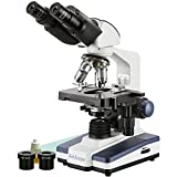 AmScope B120C Siedentopf Binocular Compound Microscope, 40X-2500X Magnification, Brightfield, LED Illumination, Abbe Condenser, Double-Layer Mechanical Stage