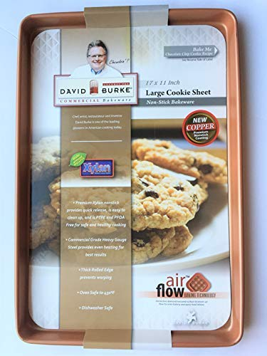 David Burke Kitchen Commercial Weight 17 x 11 Large Cookie Sheet Bakeware COLOR COPPER