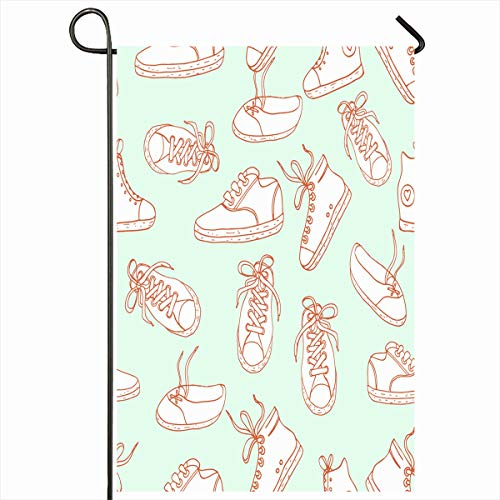 Ahawoso Outdoor Garden Flag 12x18 Inches Rock Taylors Sneakers Chuck Sports Sketching Recreation Athletic Boot Casual Design Retro Two Sides Seasonal Home Decor House Yard Sign Banner ()