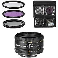 Nikon Obiettivo - AF FX Nikkor 50mm f/1.8D - Lente per Fotocamera Digitale Reflex + Set di Filtri 3 Pezzi UV, FLD, CPL - Nero