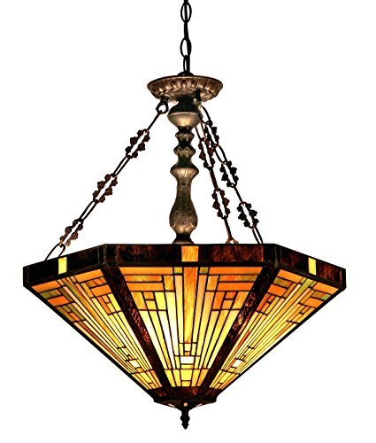 Chloe Lighting CH33359MR22-UH3 Innes Tiffany-Style Mission 3-Light Inverted Ceiling Pendant with Fixture with Shade, 24.3 x 21.7 x 21.7