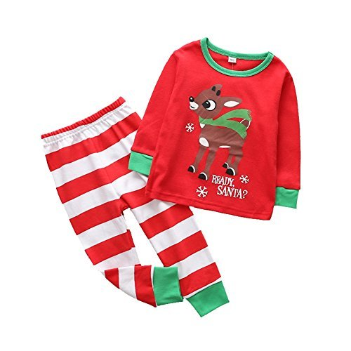 - Kids Pajamas Set Cotton,MOLYHUA Girls Boys PJS Set Long Sleeve Shirt with Pants Set(Red,3T(100))