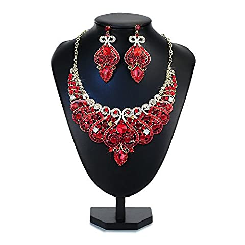 DOTASI Fashion Choker Collar Fashion Crystal Pendant Jewelry Statement Chunky Flower (red) (Womens Chunky Jewelry)