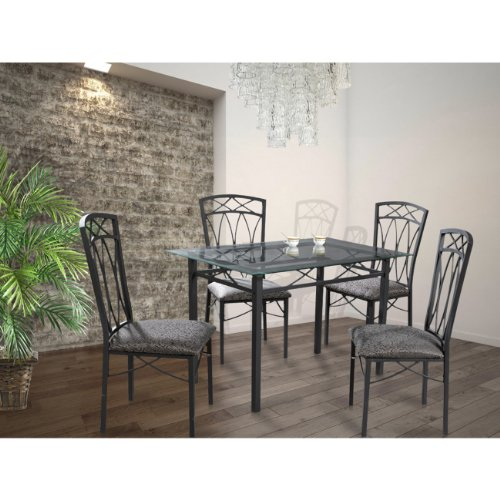Home Source Industries 4380 Dining Table with Glass Top and 4 Chairs, Grey