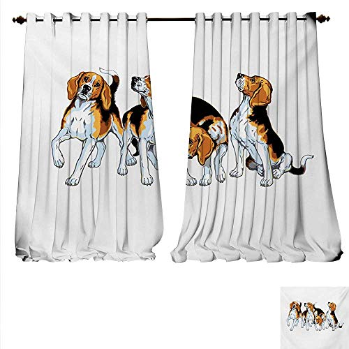 familytaste Waterproof Window Curtain Four Beagle Hounds Siblings Playing Foxhound I Love My Dog Breed Theme Waterproof Window Curtain W120 x L108 Brown White and Black.jpg