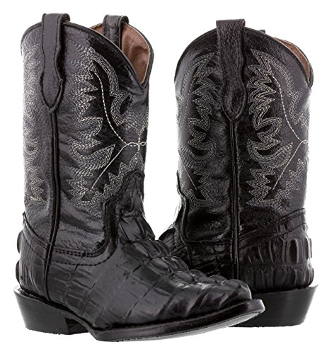Veretta Boots - Kids Toddler Black Crocodile Tail Leather Cowboy Boots J Toe 10 Toddler