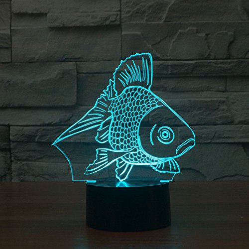 Comics+3D+Night+Lamp+ Products : Goldfish Usb Table Desk Lamp Acrylic 3D Night Light Touch Switch 7 Colors