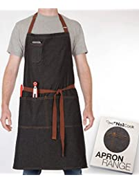 Chef Apron By No1Cook Durable Cotton Denim Apron With Pockets For Men And  Women. Modern