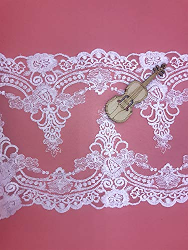 - 21CM Width Europe Ribbon Wedding Applique Inelastic Embroidery Lace Trim,Curtain Tablecloth Slipcover Bridal DIY Clothing/Accessories.(2 Yards in one Package) (White)