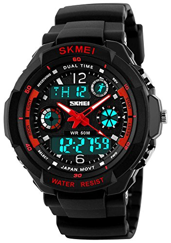 Analog Military - Fanmis Military Analog Digital Display Multifunction Dual Time Alarm Stopwatch Backlight 50M Waterproof Sports Watch Red