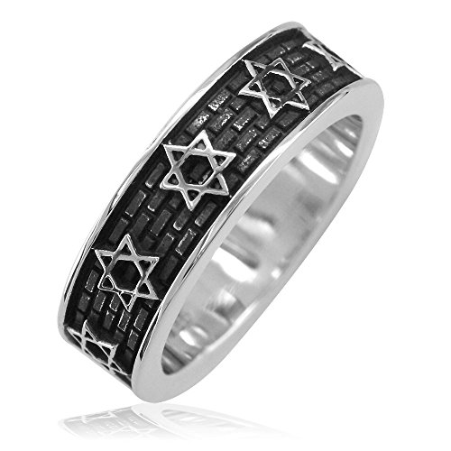 Mens 6mm Jewish Star of David Brick Wall Band, Sizing Bar with Black in Sterling Silver size 10.5 Menorah Ring