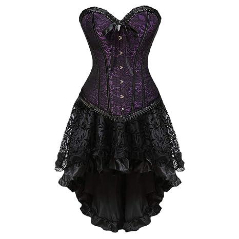 LPxdywlk Vestido de Falbala gótico Vintage Mujer Vendaje ...